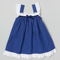 Les Petits Soleils by Fantaisie Kids Navy Blue Polka Dot Eyelet Dress - Infant & Toddler | zulily