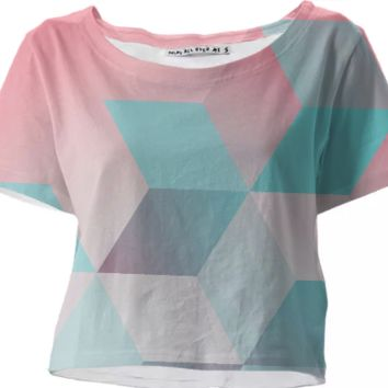 Baby Pink & Blue crop top created by duckyb | Print All Over Me