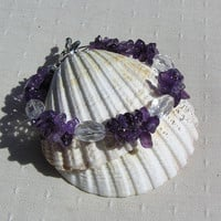 "Clear Quartz & Amethyst Crystal Gemstone Bracelet - ""Iris Ice"""