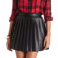 Pleated Faux Leather Skater Skirt by Charlotte Russe - Black