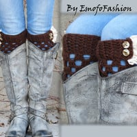 Knitted Boot Cuff Woman -Brown Short Cable Knit Boot Cuffs with ivory Lace and buttons Leg Warmers. Boot Toppers, Accessory for Teen Adults