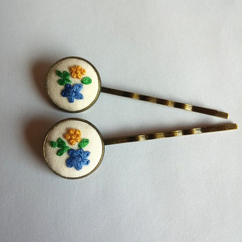Blue and Yellow Bobby Pin, Hair Pin, Hand Embroidered Bobby Pin, Set of Two Hair Pins