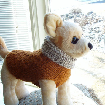 Dog Sweater Hand Knit Rusty XSmall Wool Blend by jenya2 on Etsy