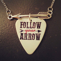 Follow your arrow guitar pick necklace with silver arrow charm - Gorgeous and Unique!
