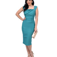 Stop Staring! 1950s Style Seafoam Green Fitted Jayla Wiggle Dress