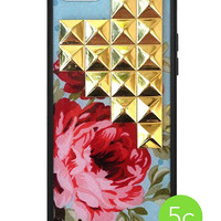 Blue Floral Gold Pyramid iPhone 5c Case