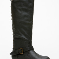 Bamboo Knee High Rider Black Boots