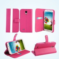 Bear Motion (TM) Premium Folio Case for Samsung Galaxy S4 SIV S IV i9500 (Support Smart Cover Function) - Hot Pink