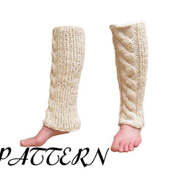 Cable Knit Leg Warmers Pattern - Thick and Chunky - Knitting Pattern - Knit in Round - Size 11 Needle Pattern - Instant PDF Download