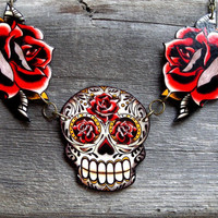 Antiqued Sugar Skull and Tattoo Roses by PrettyInInkJewelry