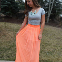 Electric Feel Maxi Skirt - Coral