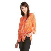 Button Down Blouse Orange Print - Mossimo