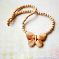 Wooden necklace with butterfly by bysiki on Etsy