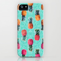 From Pineapple to Pink - tropical doodle pattern on mint iPhone & iPod Case by micklyn | Society6
