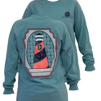 Southern Couture Preppy Lighthouse Anchor Comfort Colors Seafoam Girlie Long Sleeve Bright T Shirt
