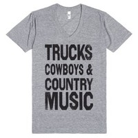 Trucks Cowboys Country Music (Vneck)-Unisex Athletic Grey T-Shirt