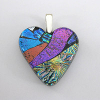 Colorful Dichroic Heart Pendant, Valentines Day Heart Jewelry, Fused Glass Jewelry - Lovebird - 4618 -2
