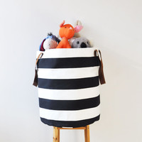 XXLarge Laundry Hamper, Laundry Basket, Toy Storage, Nursery Fabric Basket, Storage Bin, Toy Basket, Nursery Storage, Black & White