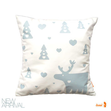 Smoky Blue Print on White Moose Christmas Pillow 13 Inches Square