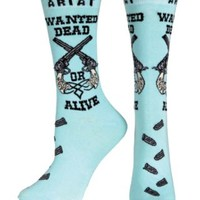 Ariat® Women's Aqua Wanted Dead or Alive Pistols Ankle Socks