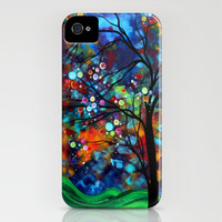 Abstract Original Landscape Painting Bold Colors, Circles, Tree SHIMMER IN THE SKY by MADART iPhone Case by Megan Duncanson | Society6