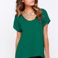 Jewel Be Mine Forest Green Top