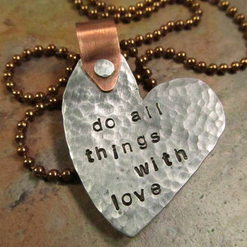 Heart Necklace Mixed Metals with Cold by FiredUpLadiesHammer