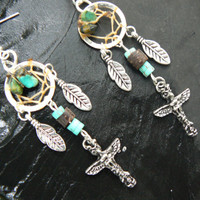 totem dreamcatcher earrings turquoise in tribal fusion native american boho hippie belly dancer and hipster style