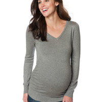 Long Sleeve Side Ruched Maternity Sweater