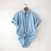 Vintage washed out cotton shirt. Faded blue shirt. Button front tee shirt. Sun washed shirt.