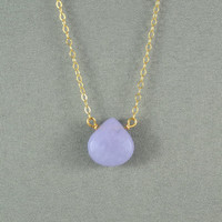 Beautiful Lavender Jade Heart Necklace, Jade Stone, 14K Gold Filled Chain, Wonderful Necklace