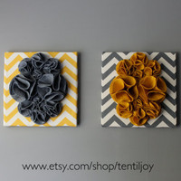 """Two Wall Art Canvases, Yellow and Gray Chevron 12x12"""" Wall Hangings, 3D Flower Wall Decals, Nursery Art, Yellow Gray Nursery Decor"""