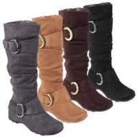 Journee Collection Womens Regular Sized and Wide-Calf Slouch Buckle Knee-High Microsuede Boot