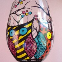 Hand Painted Owl Wine Glasses by Wine Me by WineMe on Etsy