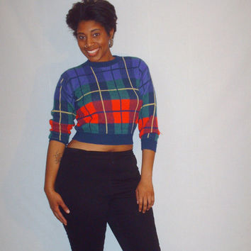 Vintage 1980s Plaid Sweater Cropped Style