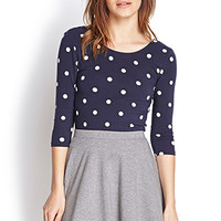 FOREVER 21 Polka Dot Knit Top