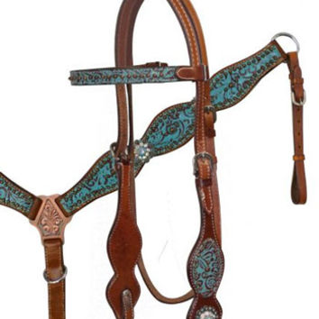 Saddles Tack Horse Supplies - ChickSaddlery.com Showman Filigree Overlay Headstall, Reins, Breast Collar With Crystal Rhinestones