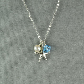 Sterling Silver Starfish, Freshwater Pearl and SWAROVSKI Crystal Bead Necklace, 925 Sterling Silver Chain, Beautiful Necklace