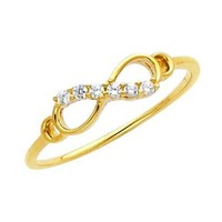 14k Yellow Gold Infinity Ladies Promise Ring Band