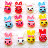WHOLESALE Kawaii Smiling Rabbit Cabochons 12 by DecoSweets