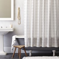 Dotted Stripe Shower Curtain - Slate