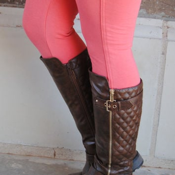 Brown Quilted Zipper Riding Boots