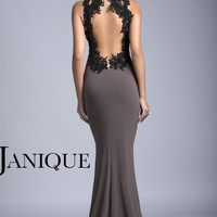 Embellished Open Back Gown by Janique