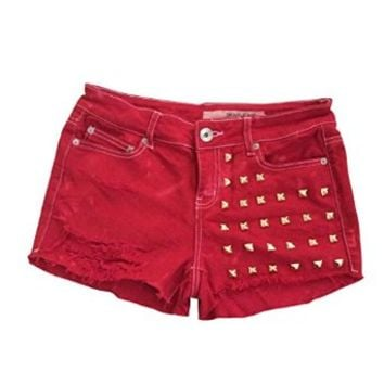 Women's High Waisted Red Denim Studded Stud Wrangler Frayed Cut Off Shorts