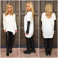 Side Panel Sweater - WHITE