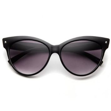 High Pointed Vintage Mod Womens Fashion Cat Eye Sunglasses (Black w/ zeroUV Pouch)