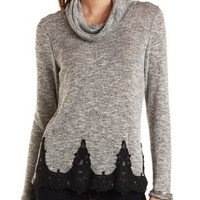 Crochet Trim Cowl Neck Top by Charlotte Russe