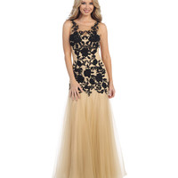 Black & Nude Embellished Sheer Rose Tulle Gown 2015 Prom Dresses