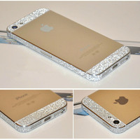 iPhone 5 5S 4 4S Full Body Skin Wrap Silver Luxury Glitter Sparkle Bling Color Sticker Protector NOT Case