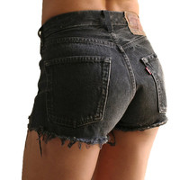 ALL SIZES - Vintage Levis Frayed High Waisted Hipster Plain Cutoff Denim Jean Shorts - Black